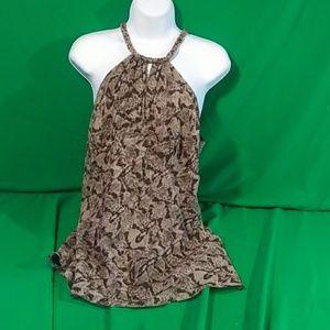 Michael kors sz 10 braided brown silk tank blouse